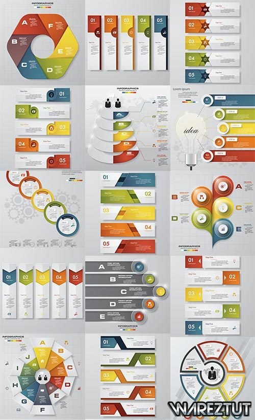 Infographics in different colors - vector clipart
