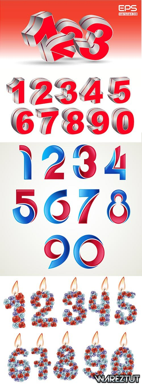Colored numbers - vector clipart