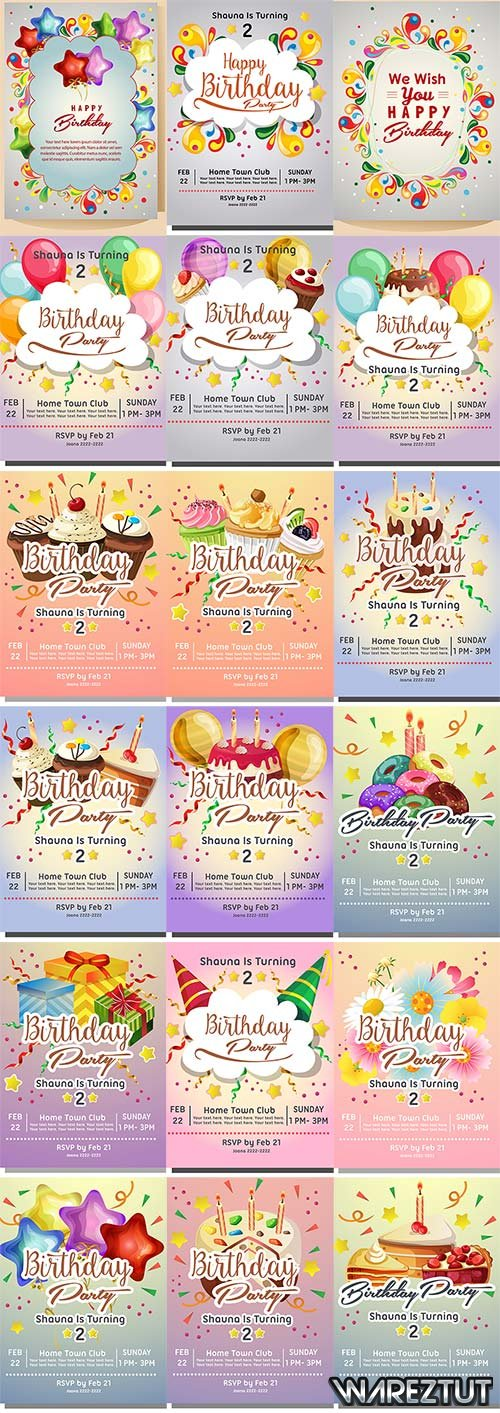 Birthday invitations - vector clipart